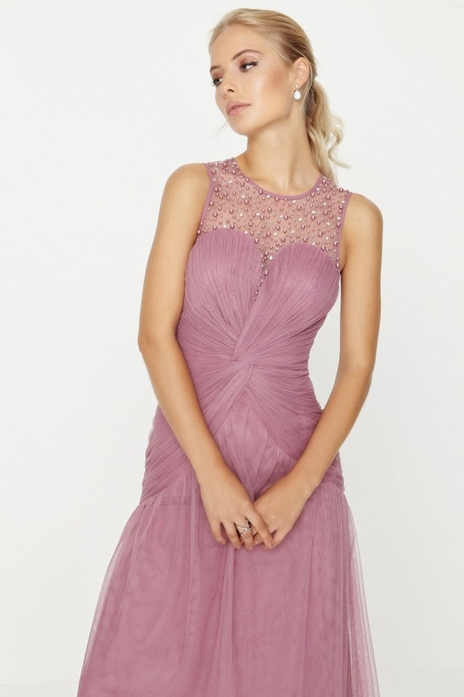 Little Mistress Rose Knot Waist Maxi Dress