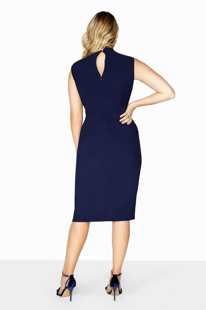 Navy Diamond Mesh Dress