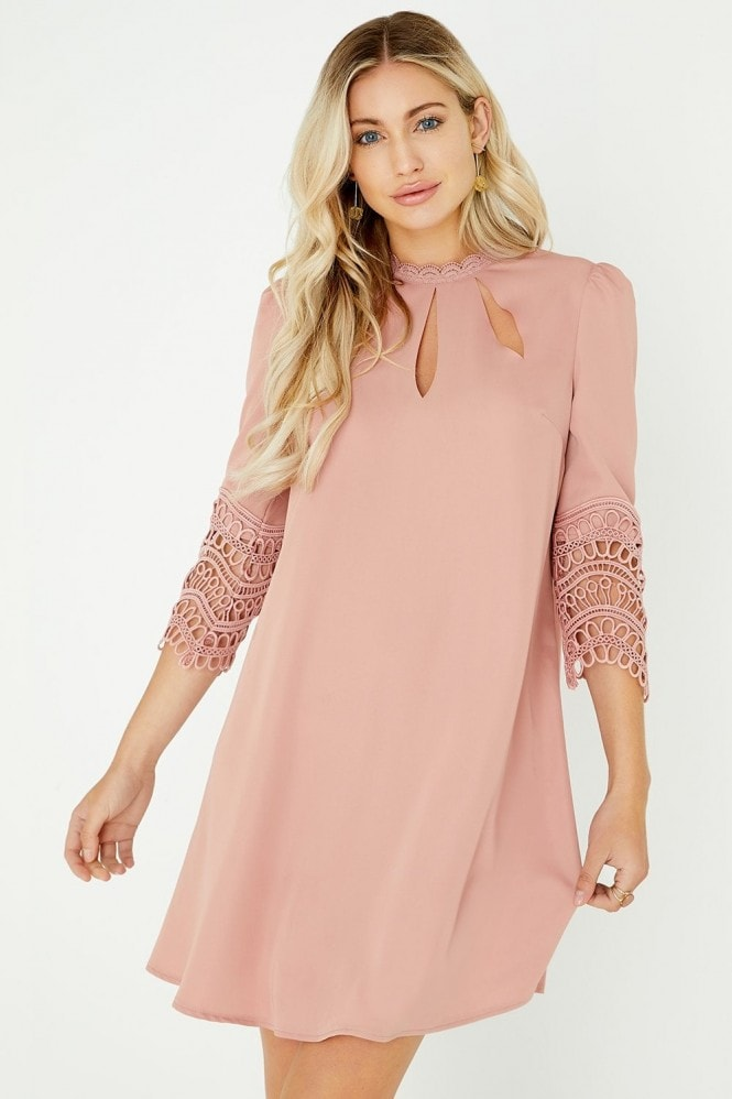 Little Mistress Gaby Apricot Crochet Lace Shift Dress