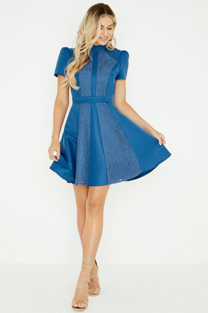 Little Mistress Margot Blue Lace Panel Skater Dress