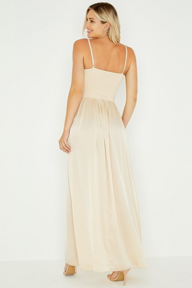 Little Mistress Caitlin Beige Satin Floral Trim Maxi Dress