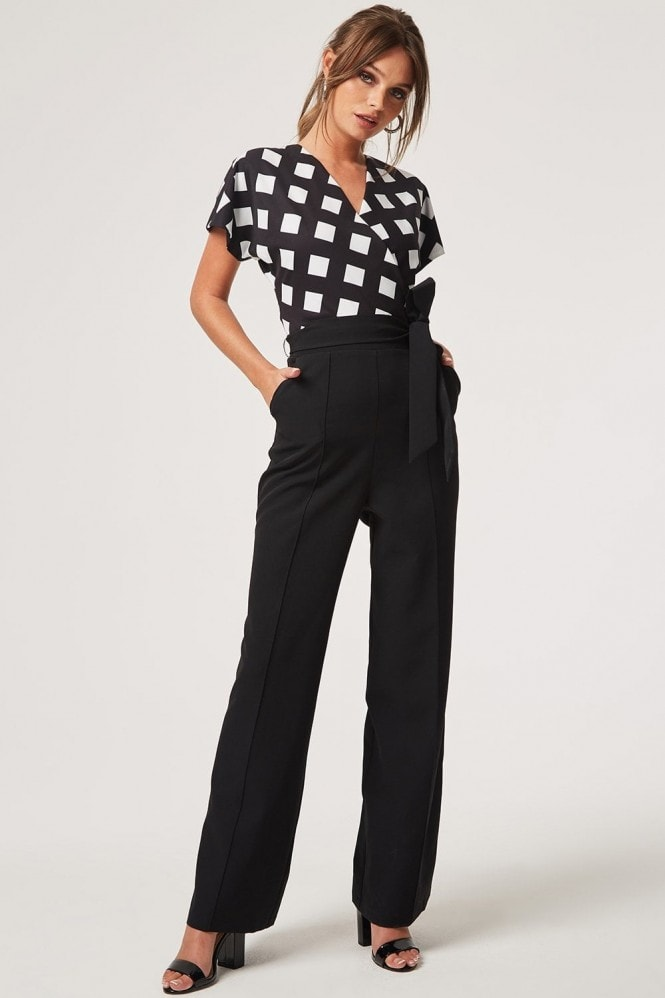 Paper Dolls Castro Black Wrap Check Jumpsuit