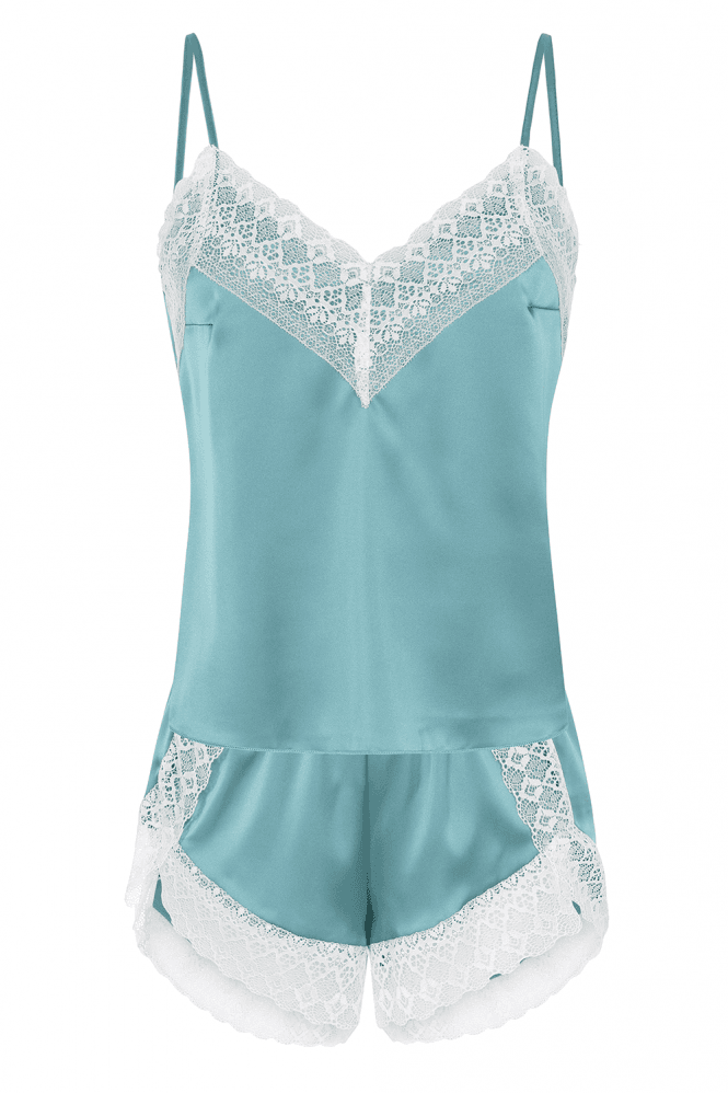 Lust Green Satin And Lace Pyjama Set