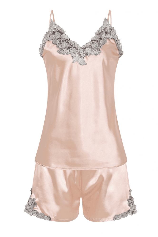 Liaison Champagne Satin And Lace Pyjama Set