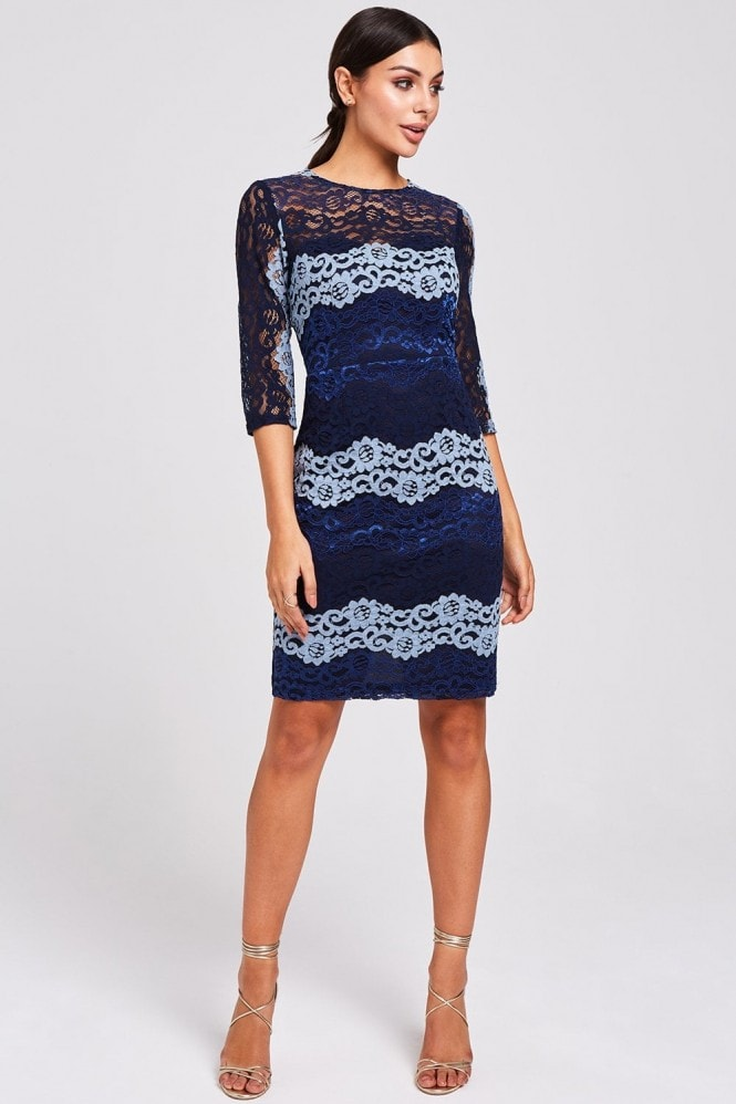 Paper Dolls Tustin Navy Contrast Lace Dress