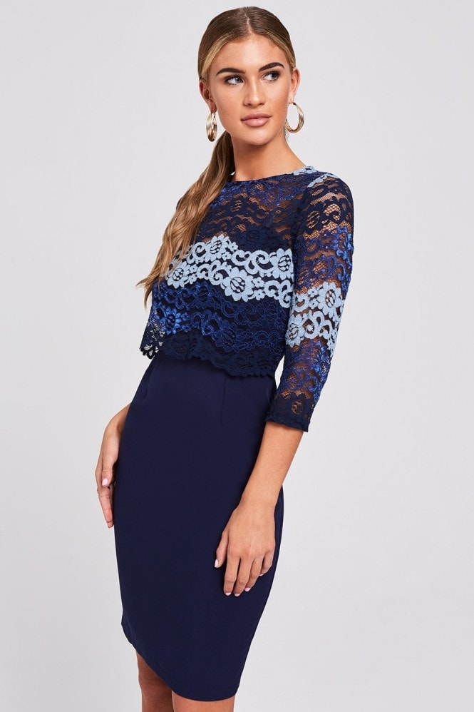 Paper Dolls Newport Navy Contrast Lace Dress