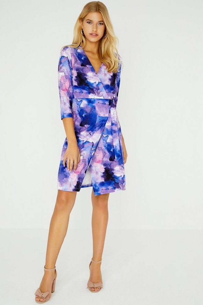 Paper Dolls Nord Wrap Dress In Watercolour