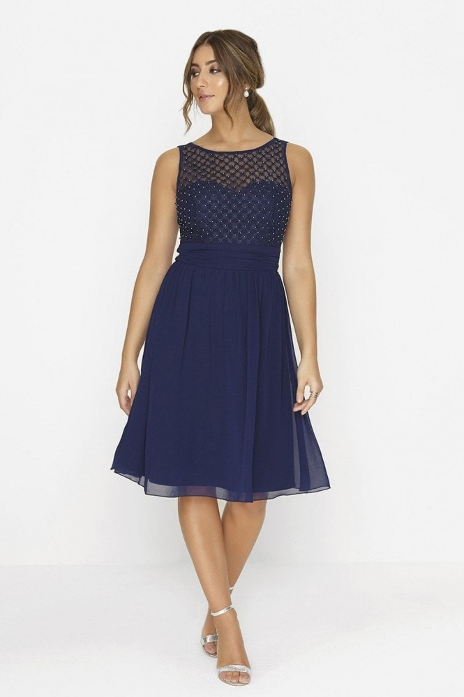 Little Mistress Navy Pearl Prom Midi Dress