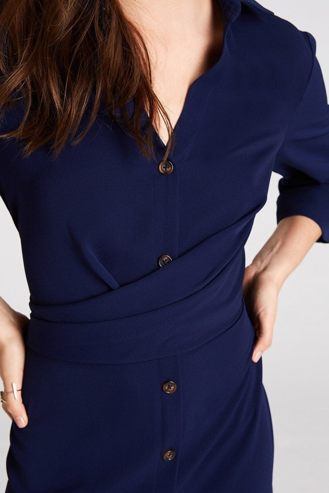 Girls on Film Brielle Navy Button Front Midi Shirt Dress