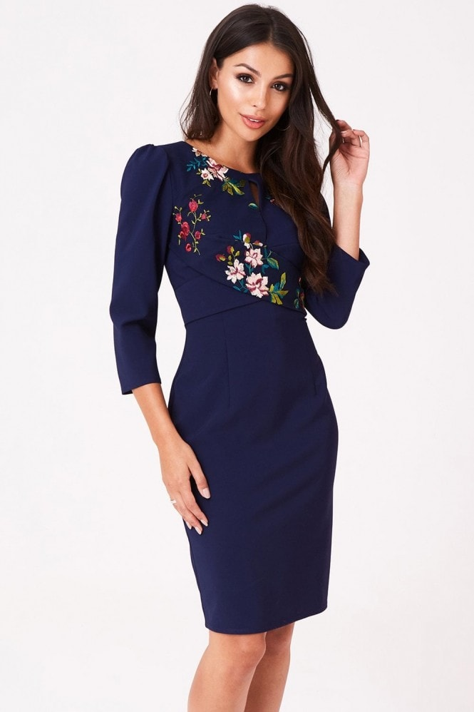 Little Mistress Tara Navy Floral Embroidery Dress