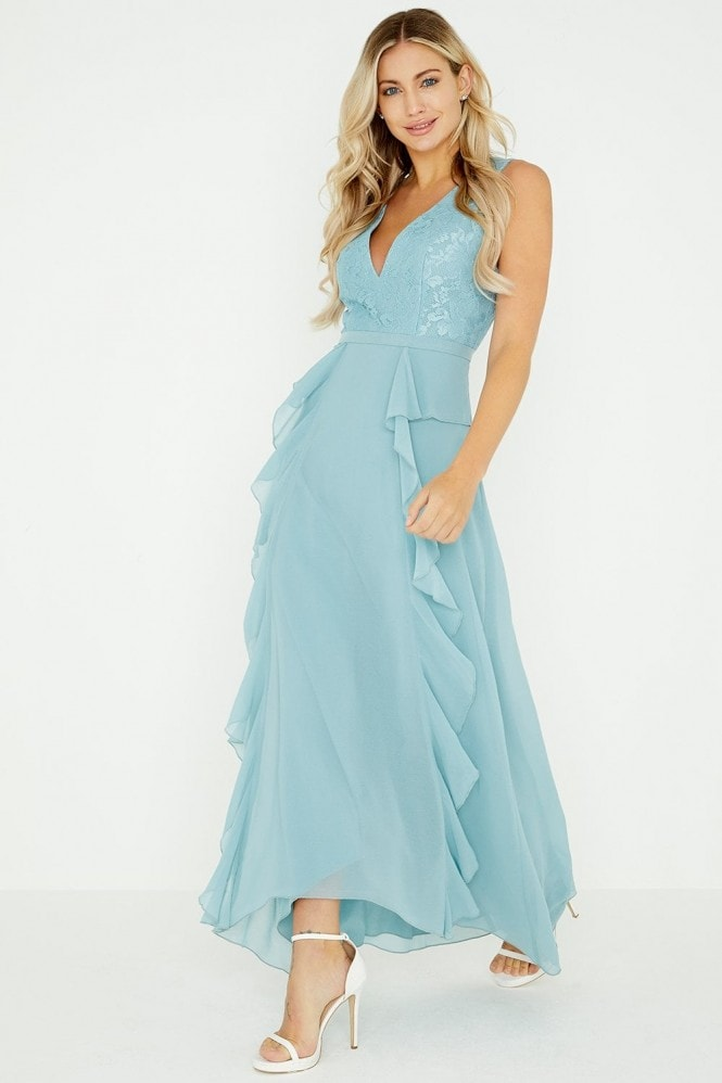 Little Mistress Clarita Blue Plunge Maxi Dress With Lace