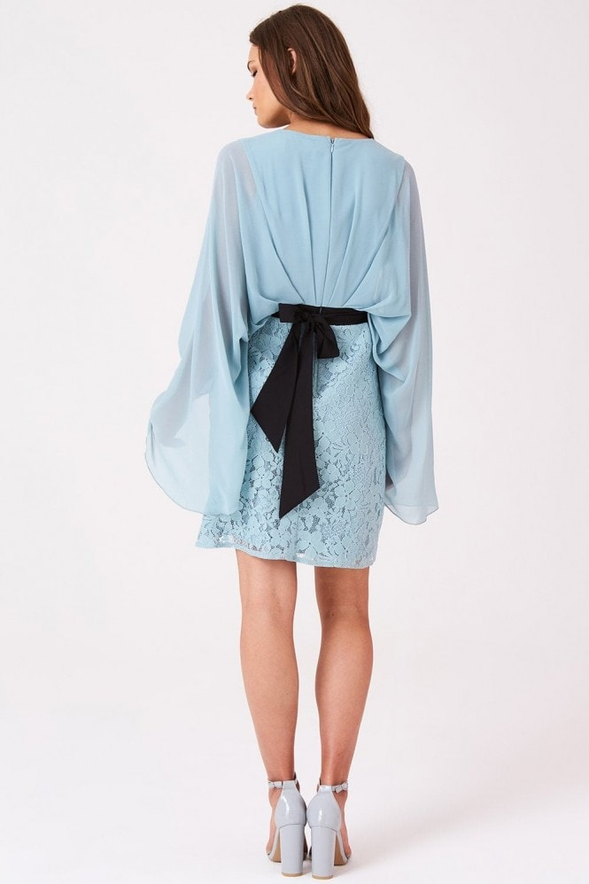 Little Mistress Clarita Blue Embroidery Batwing Dress