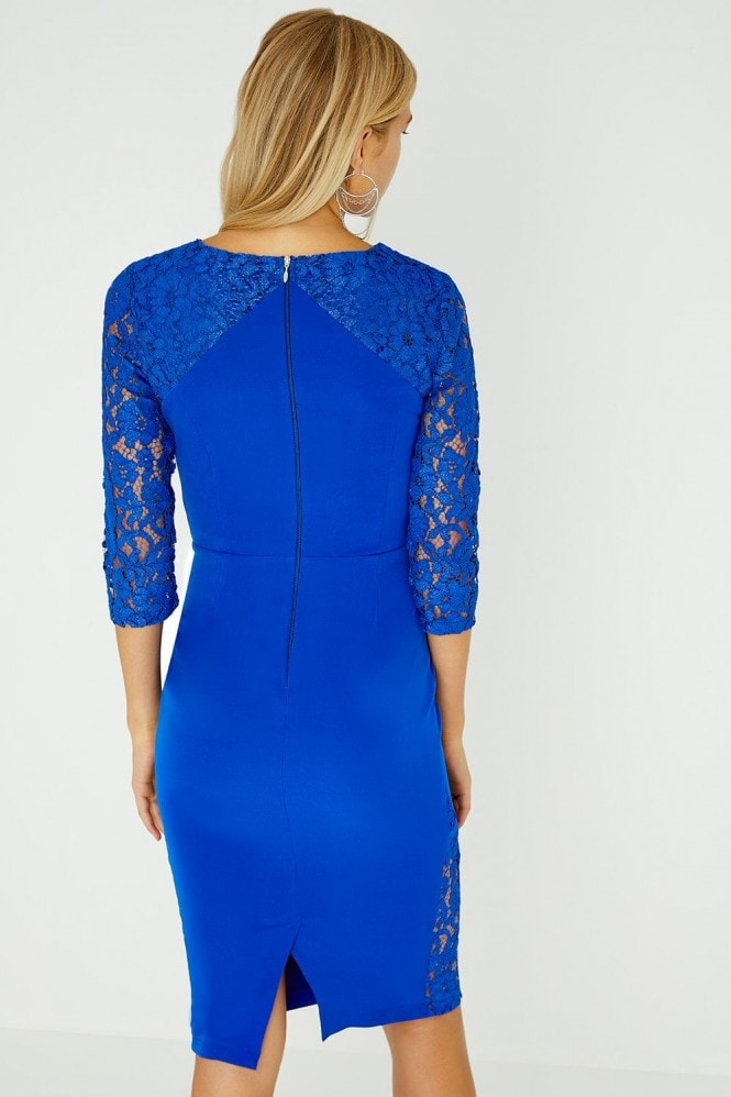 Paper Dolls Hart Cobalt Dress With Lace Inserts
