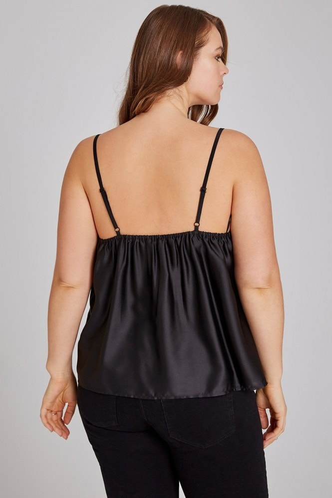 Girls On Film Curvy Black Cami With Lace Trim