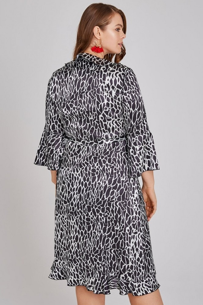Girls On Film Curvy Frill Wrap Midi Dress In Giraffe