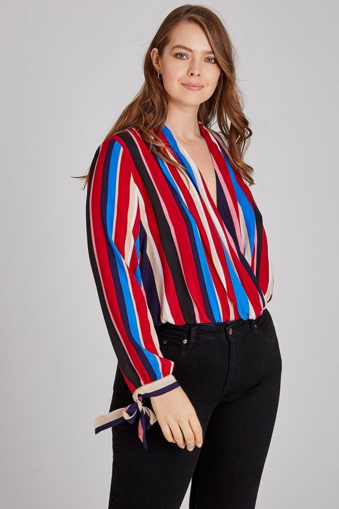 Girls On Film Curvy Stripe Mock Wrap Bodysuit