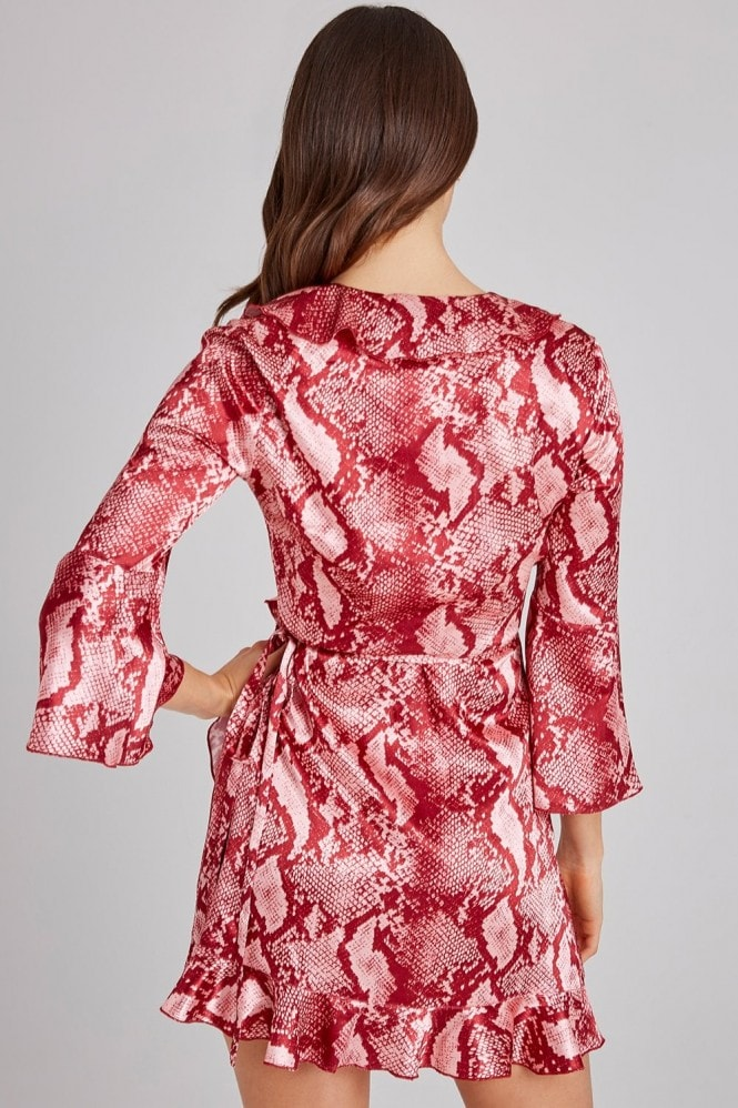 Outrageous Fortune Pink Snake Wrap Dress