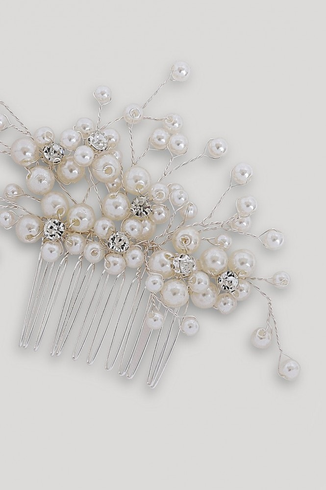 Silver Pearl And Diamanté Hair Slide