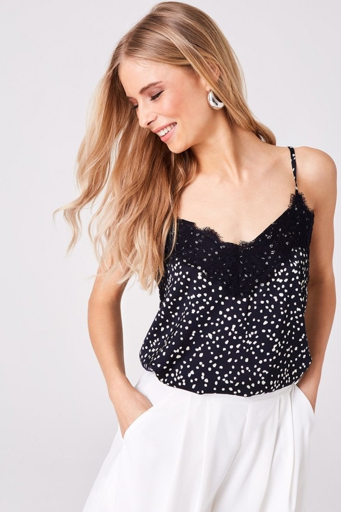 Outrageous Fortune Navy Spot Lace-Trim Cami Top