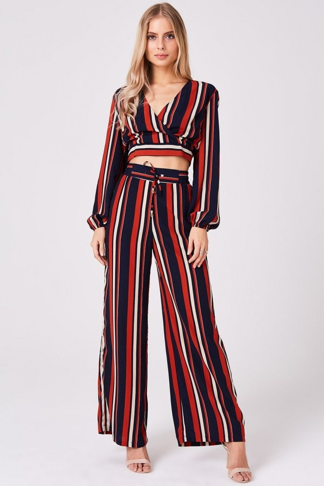 Outrageous Fortune Stripe Crop Top Co-Ord