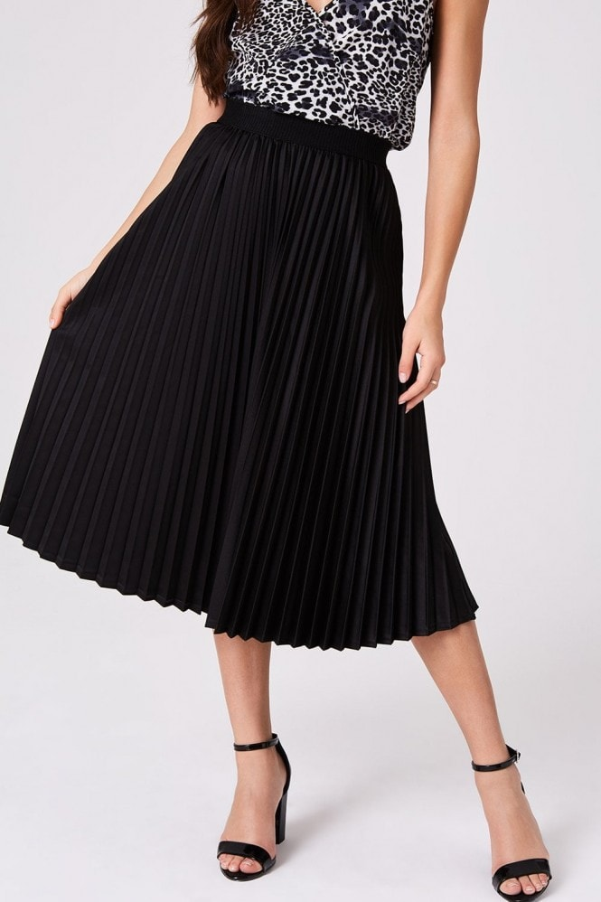 Outrageous Fortune Black Satin Pleat Skirt