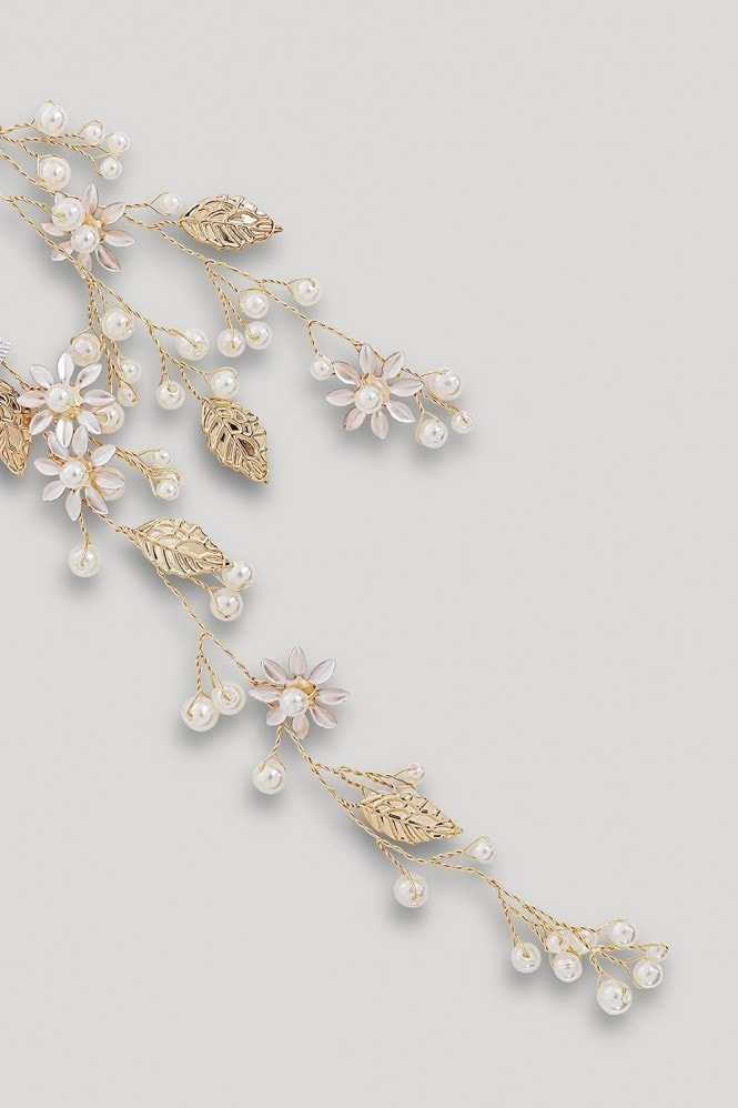 Gold Floral Pearl And Diamanté Hair Vine