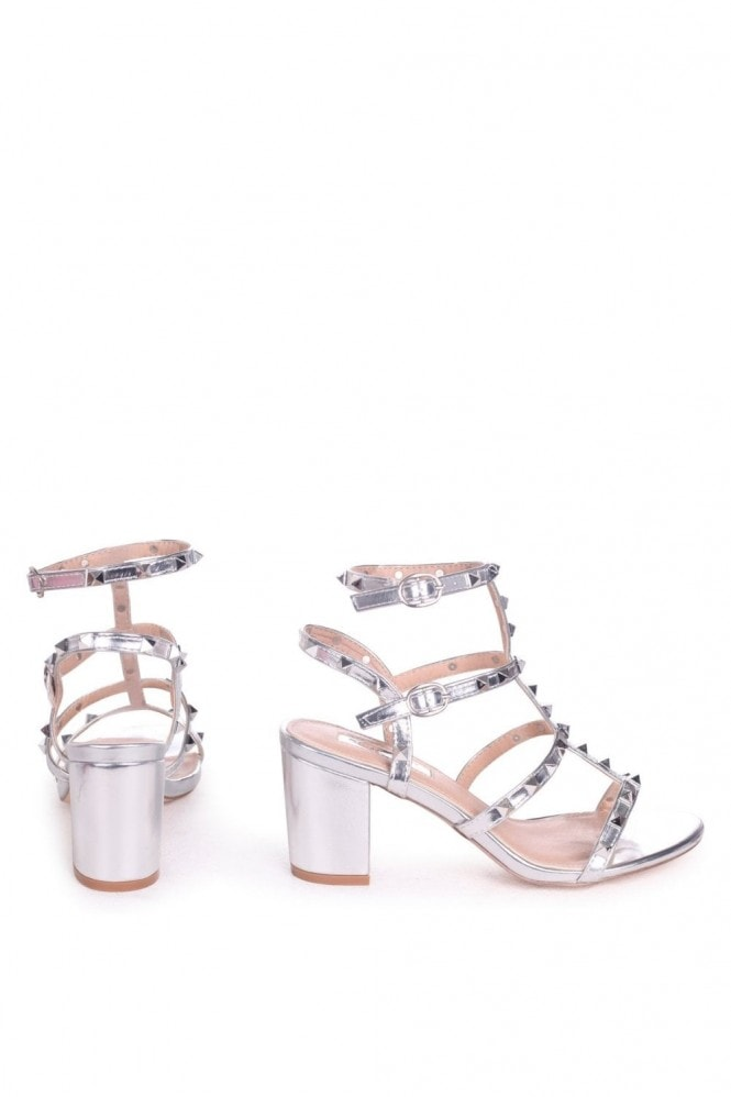 Linzi Tessa Silver Studded Block Heeled Sandals