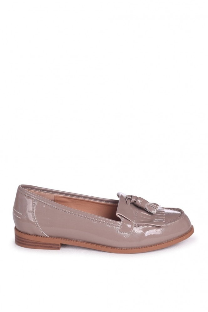 Linzi Rosemary Concrete Faux Patent Leather Classic Slip On Loafers