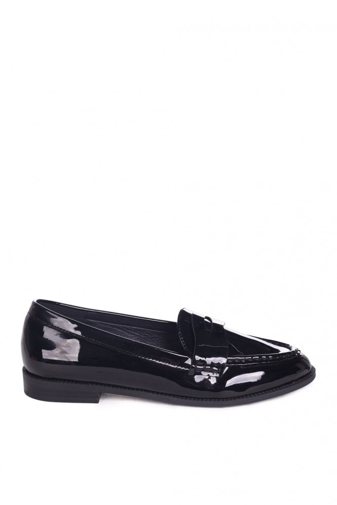 Linzi Latasha Black Patent Classic Slip On Loafers
