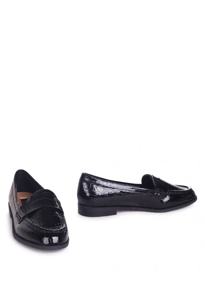 Linzi Latasha Black Faux Croc Leather Classic Slip On Loafers