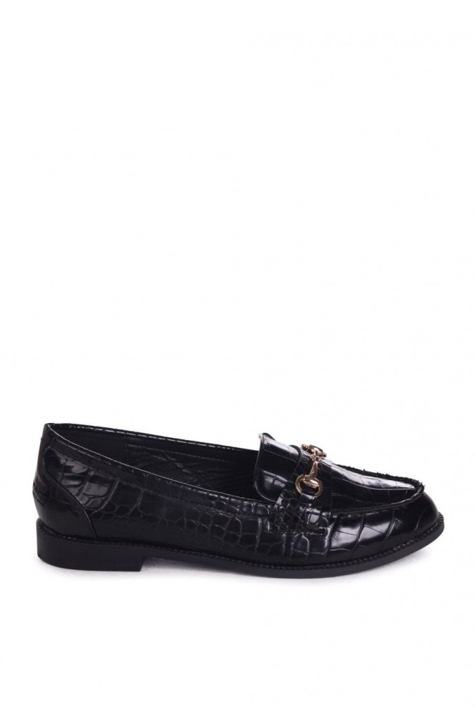 Linzi Rosetta Black Croc Slip On Loafers With Gold Bar Front Detail