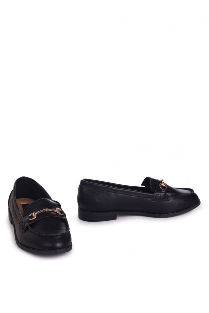 Linzi Rosetta Black Nappa Slip On Loafers With Gold Bar Front Detail