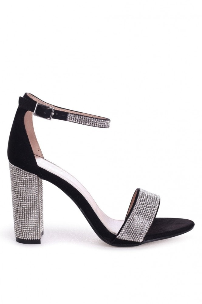 Linzi Kesha Black Suede Block Heels With Diamante Detail