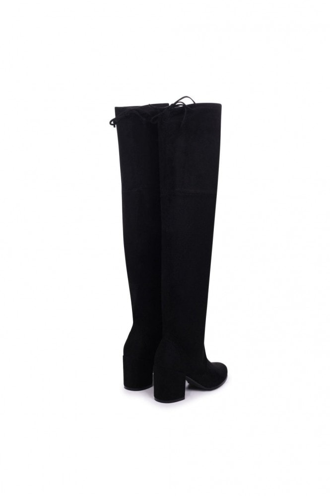 Linzi Amber Black Suede Block Heeled Over The Knee Boots with Tie Up Back
