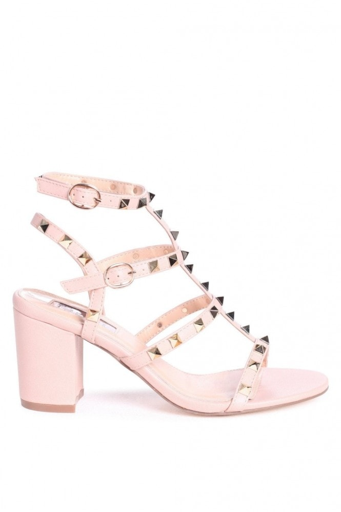 Linzi Tessa Nude Studded Block Heeled Sandals