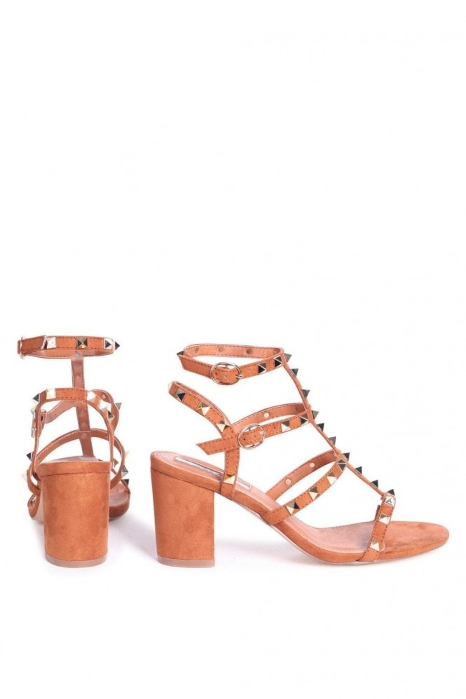 Linzi Tessa Tan Studded Block Heeled Sandals
