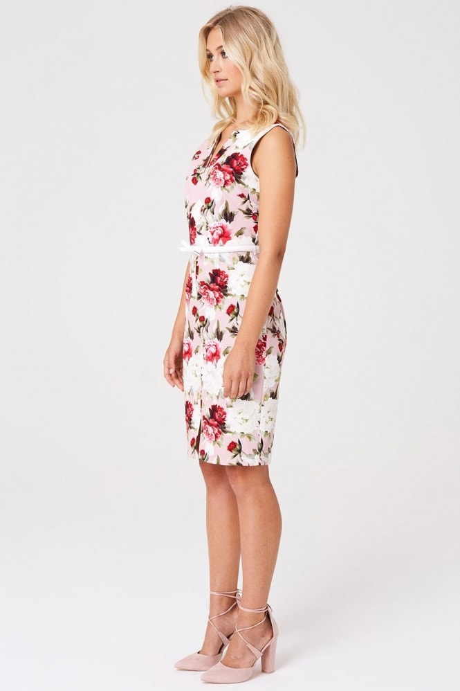 Paper Dolls Barclay Pink Floral Pencil Dress