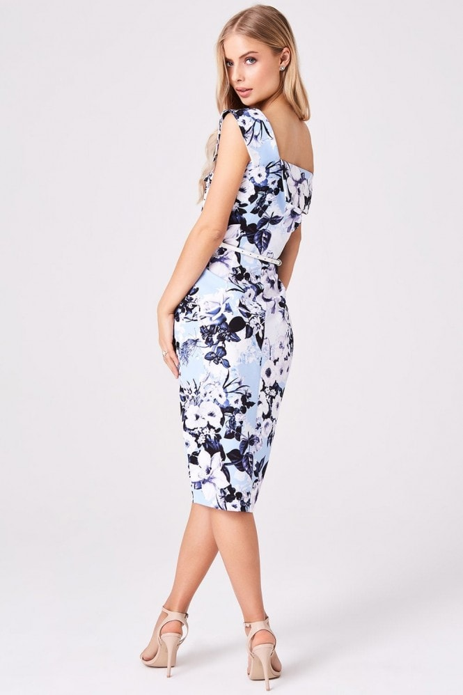 Paper Dolls Mews Blue Floral Midi Pencil Dress