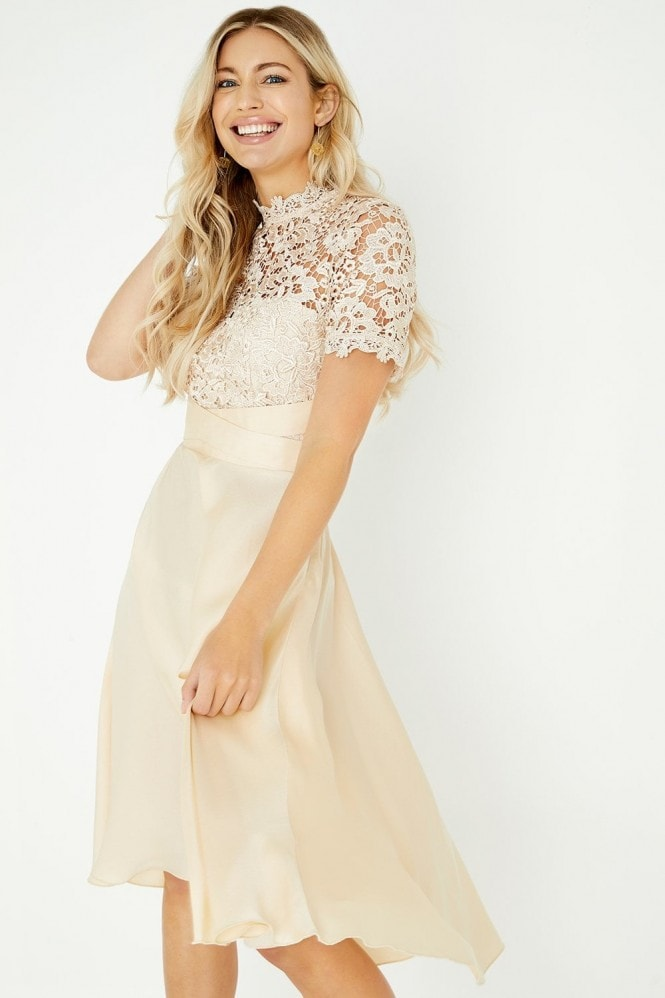 Lizzy Beige Crochet Lace Midi Dress