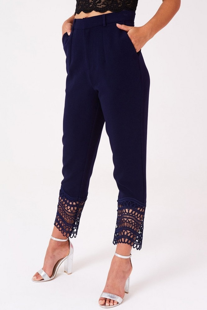 Little Mistress Gaby Navy Crochet Lace Trousers