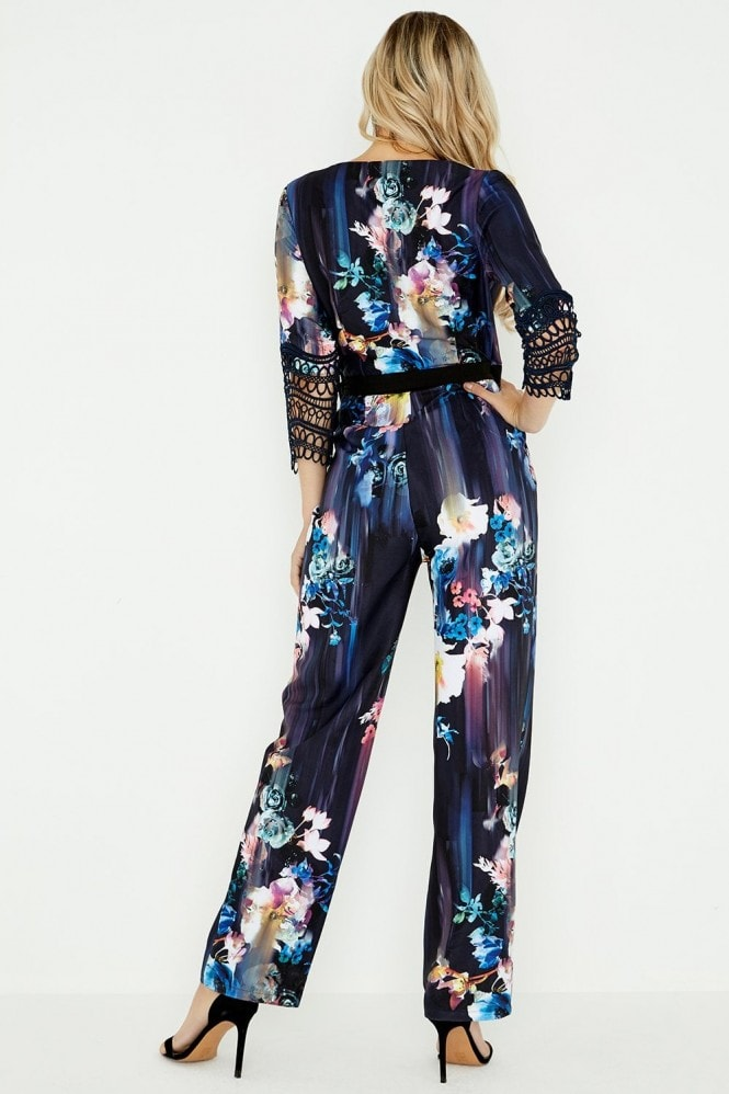 Little Mistress Viola Floral Mock Wrap Jumpsuit