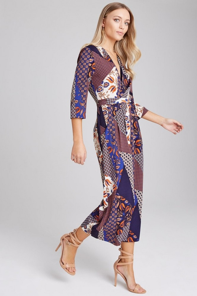 Girls on Film Edison Mixed-Print Culotte Jumpsuit