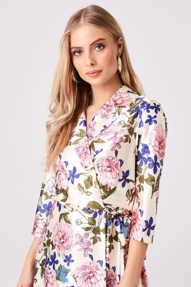 Girls on Film Edessa Floral-Print Satin Wrap Dress