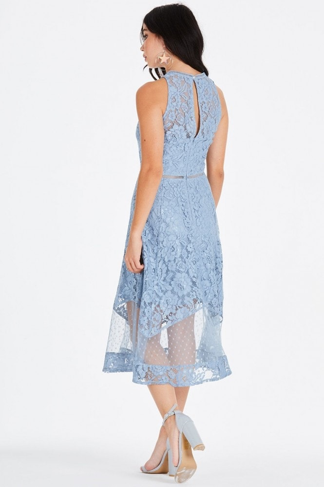 Little Mistress Alexina Blue Lace Midi Dress