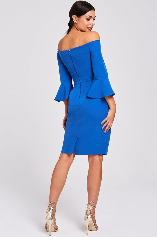 Paper Dolls Valley Cobalt Knotted Off The Shoulder Dress