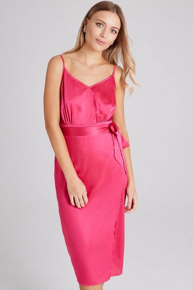 Girls on Film Nava Pink Satin Midi Slip Dress