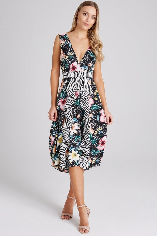 Outlet Girls On Film Otto Mixed-Print Frill Midi Dress