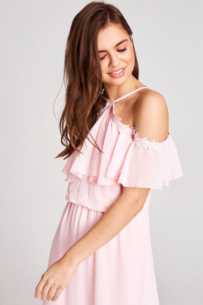Girls on Film Marnie Pink Cold Shoulder Maxi Dress