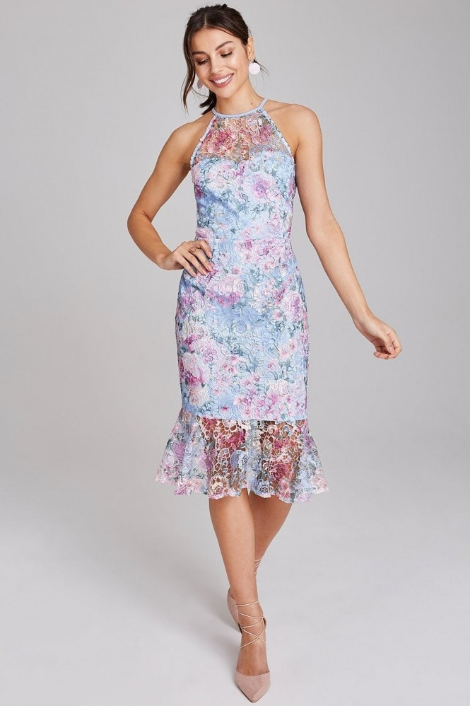 Paper Dolls Britten Blue Floral Lace Midi Peplum Dress