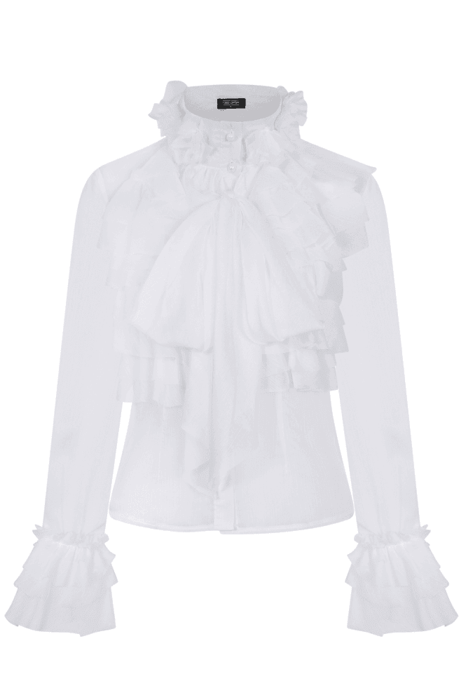 Lesa White Frill And Pussybow Blouse